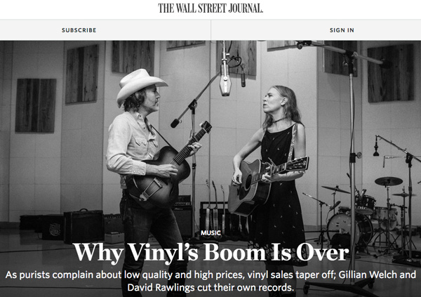 RIP New Vinyl (because the WSJ says so)