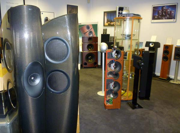 kef muon speakers. in the kef museum: maidstone background; concept blade foreground. kef muon speakers t