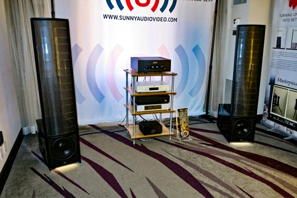 MartinLogan Masterpiece ESL13A speakers and Dynamo 800X subwoofer, Hegel H-590 integrated amplifier, Wolf Audio Streamer/Server, Audience and AudioQuest cabling and conditioning, and Quadraspire Stand Bamboo