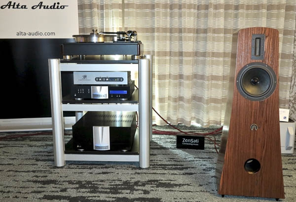 Krell Illusion II preamp and Duo 300 XD amplifier, VPI HW-40 turntable, Audio Technica Art 1000 cartridge, Alta Audio Alec loudspeakers, and ZenSati Zorro cabling