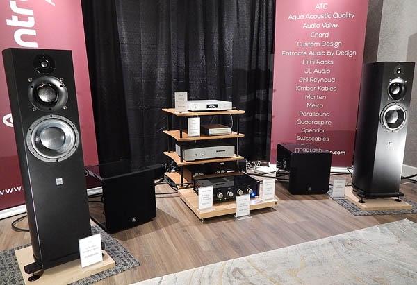 Melco Server, Aqua Acoustic Quality DAC, Audio Valve Preamp, ATC Powered Speakers, JL Audio Subwoofers