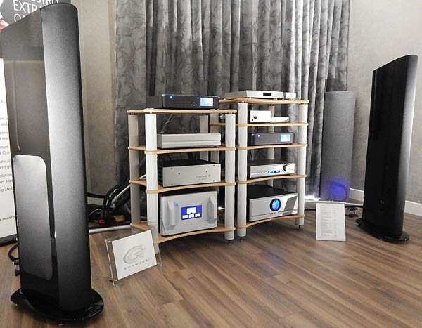 Lumin Streamer, Mutec Master Clock, PS Audio DAC, Pass Labs Amp, GoldenEar Speakers, Gutwire and Siltech cables