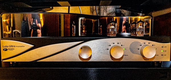 Zesto Audio Leto Ultra preamplifier, Eros 300 monoblocks, Andreos Deluxe phono stage, and Allasso step-up transformer; Transrotor Apollon TMD turntable; TriPlanar tonearm; Benz Micro cartridge; Opera Callas Diva loudspeakers; HRS racks; Cardas cabling