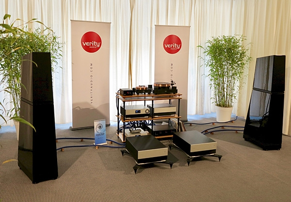 Verity Audio Monsalvat Pro-4 Preamplifier, Amp-60 Reference Monoblocks, and Lohengrin IIS Reference loudspeaker system; Melco N1ZS/2A Music Server, TW-Acustic Raven Black Night Turntable; Dynavector XV-1 S MC cartridge; Cardas Cables, Quadraspire Rack