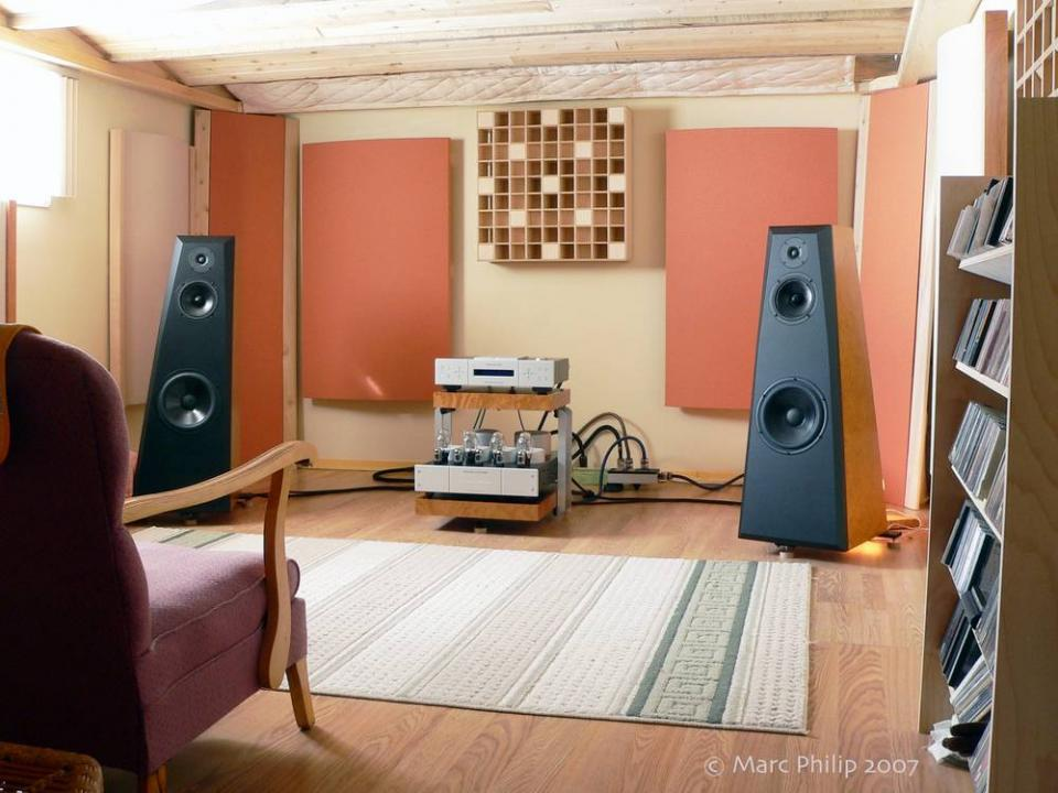 Listening room for Living room acoustic treatment